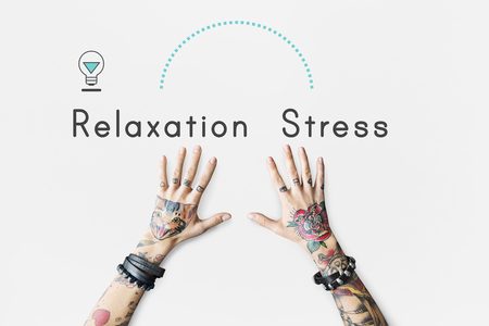 Antonym face à la détente Stress Satisfaction Frustration Banque d'images - 78738267