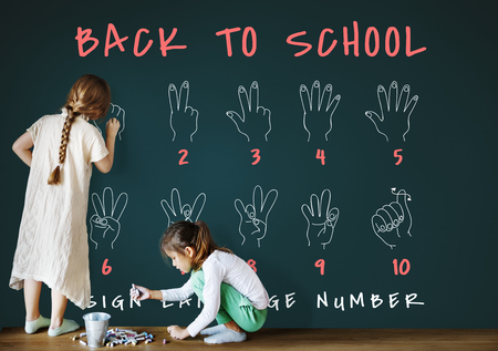 Back to School Education Hand Sign Communication Foto de archivo - 78673150