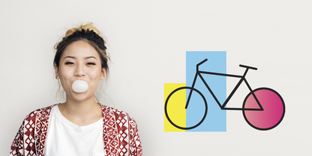 Woman Happiness Chewing with Bike Icon