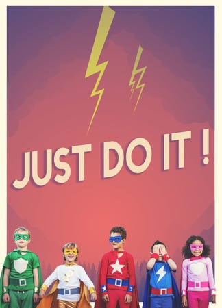 Group of superheroes kids with aspiration word graphic Stock Photo - 78625538