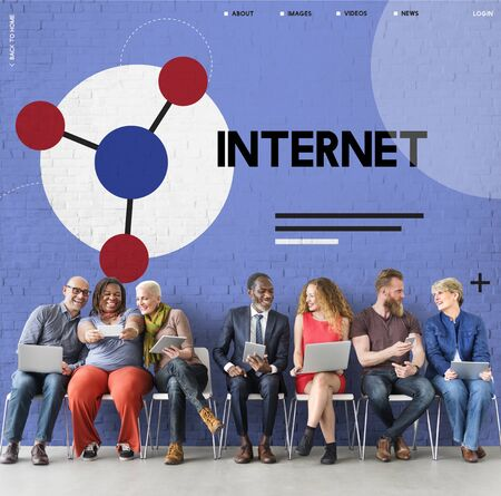 Group of people connected with social network online community Stock Photo