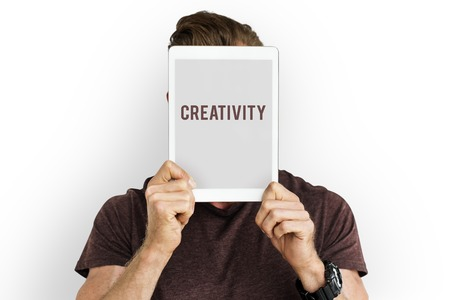 expertise: Creativity word tablet on face