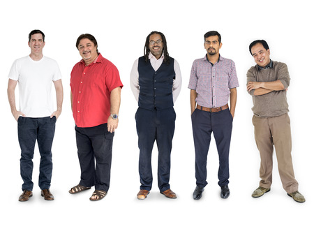 Diversity Men Set Gesture Standing Together Studio Isolated