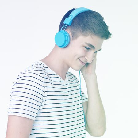 Young Man Wear Earphone Listen Music Studio