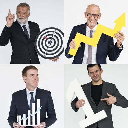 Collection of business people success and achievement Stock Photo