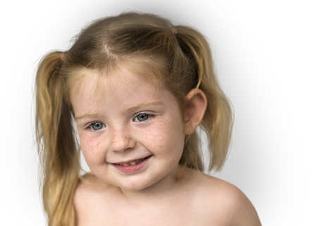 Caucasian Little Girl Bare Chested Smiling