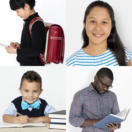 Set of diversity people reading education lifestyle 版權商用圖片 - 78777162