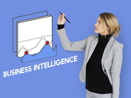 Woman with business intelligence chart concept