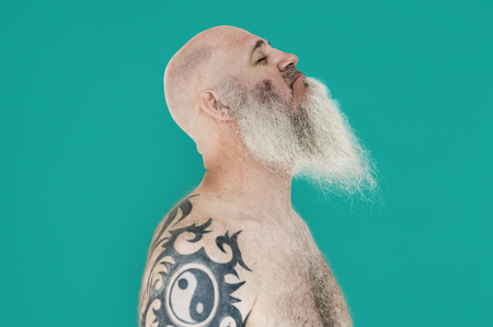Bearded Caucasian Man Tattoo Smile