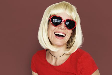 Caucasian Blonde Woman Wearing Sunglasses
