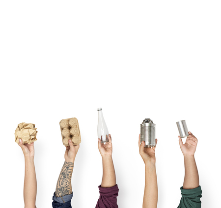 Hand Hold Show Recyclable Plastic Paper Can Stock Photo
