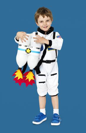 少年宇宙飛行士の夢の仕事を笑顔で 写真素材