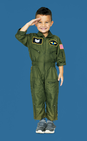 Little Boy in Military Pilot Aviation Costume Studio Portrait Stock Photo