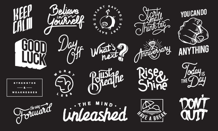 Badge Collection - Motivation and Positive Thinking Concept Illustration