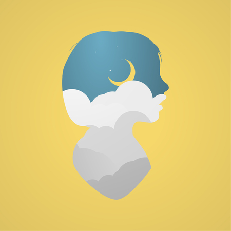 Abstract graphic head silhouette. Moon and clouds concept.