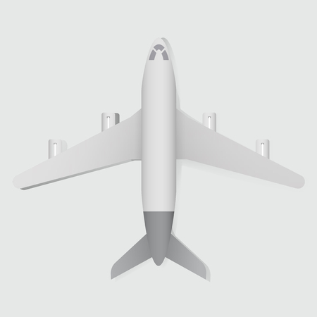White Airplane Vector Illustration Flatlay Top View