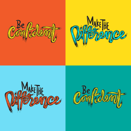 Make The Difference Be Confidence Life Inspiration Motivation Word Graphic Illustration Çizim