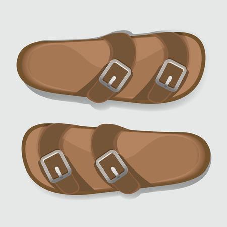 Man Brown Casual Flip Flop Sandal Shoes Vector Ilustrace