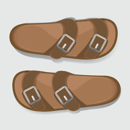 Man Brown Casual Flip Flop Sandal Shoes Vector Illustration