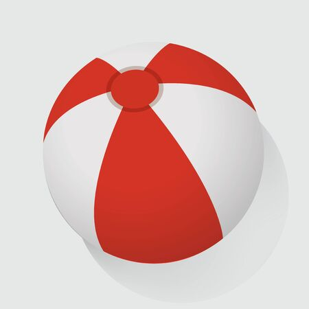 Red and White Beach Ball Vector Illustration Иллюстрация