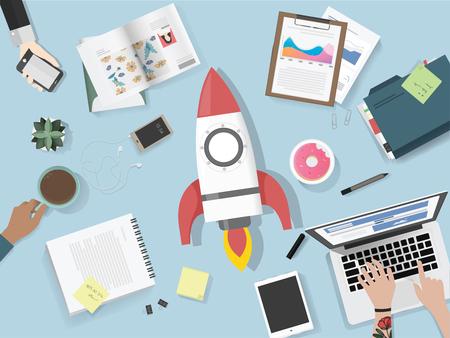 Personnes réunies pour le brainstorming lancement illustration vectorielle Banque d'images - 78789308