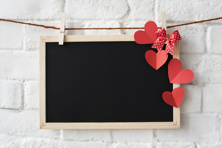 Black Board Heart Decoration Design Stock Photo