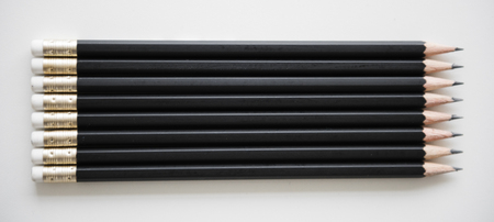 Pencil Lined Up Row Organised
