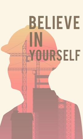 """의욕적 인 견적과 디지털 일러스트 포스터 """"자신을 믿어"""""""