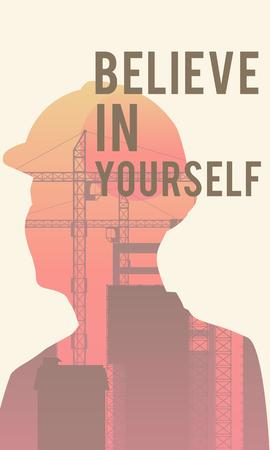 Digital illustration poster with motivational quote Believe In Yourself Stock Photo
