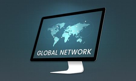 Global network communication technology graphic Stock Photo