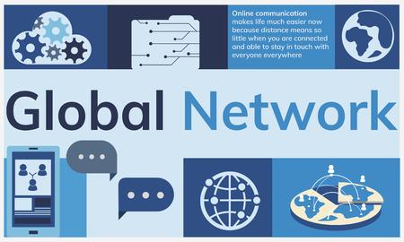 Tecnología de comunicación de red global gráfico Foto de archivo - 78945531