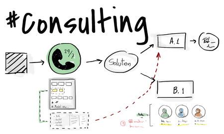 컨설팅 고객 서비스 프로세스 다이어그램 스톡 콘텐츠