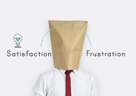 Antonym face à la détente Stress Satisfaction Frustration Banque d'images - 78964681