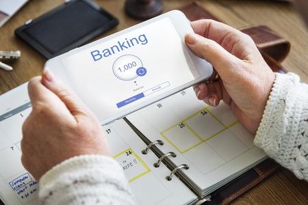 オンラインバン キングのインターネット金融 E-コマース 写真素材