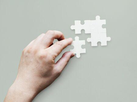 一体接続チームワークのジグソー パズル ゲーム