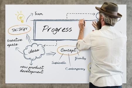 Man with progress concept