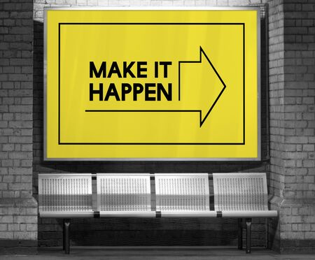 Make It Happen Positivity Attitude Possible Graphic Words Banco de Imagens