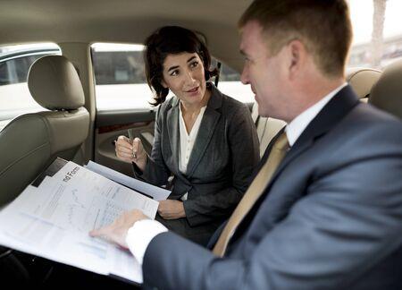 Business People Meeting Working Car Inside Zdjęcie Seryjne
