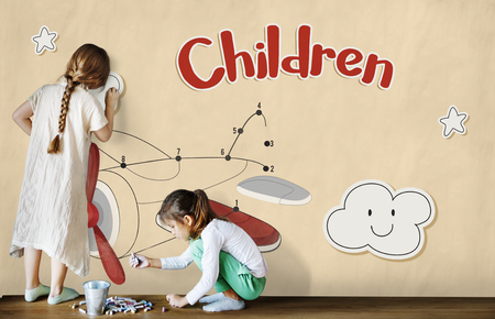 Children fun connect the dots airplane graphic Stock Photo - 78994107
