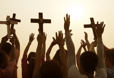 Concepto de la comunidad cristiana católica de la religión cruzada Foto de archivo