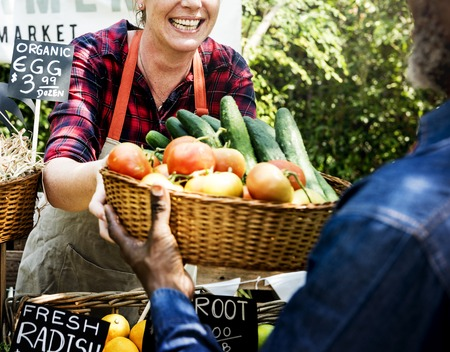 Woman owner fresh gracery organic shop Stock Photo - 78911013