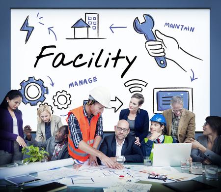 Facility Equipment Onderhoud Concept beheren Stockfoto