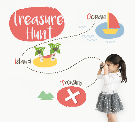Kids playing treasure hunt graphic Banco de Imagens - 78965532