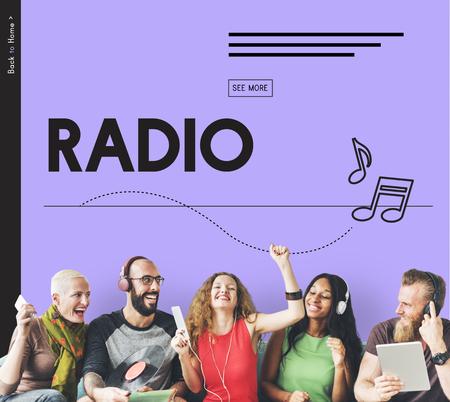 ラジオ サウンド オーディオ音楽聞いて周波数 写真素材