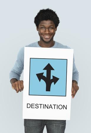 Man with destination concept