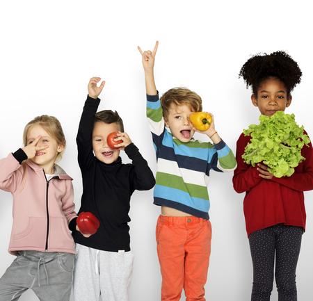 Kids Holding Vegetable Healthy Food