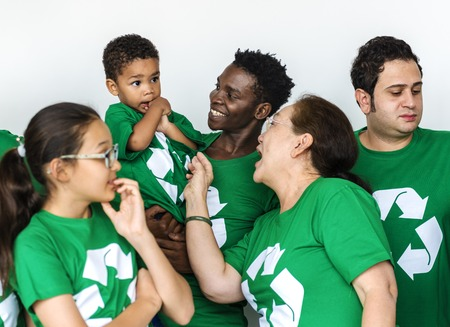 Diverse Group of People with Recycle Symbol Stock Photo