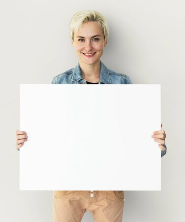 Adult Woman Hands Hold Blank Paper Board Copy Space Stock Photo