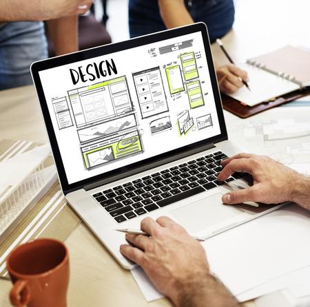 Website development layout sketch drawing 版權商用圖片