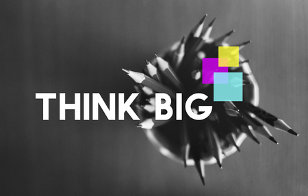 Think Big Square Motivation Thoughts Word Stok Fotoğraf